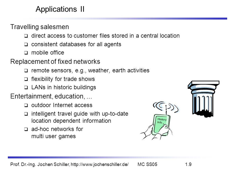 Prof. Dr.-Ing. Jochen Schiller, http://www.jochenschiller.de/MC SS051.9 Applications II Travelling salesmen direct access to customer files stored in
