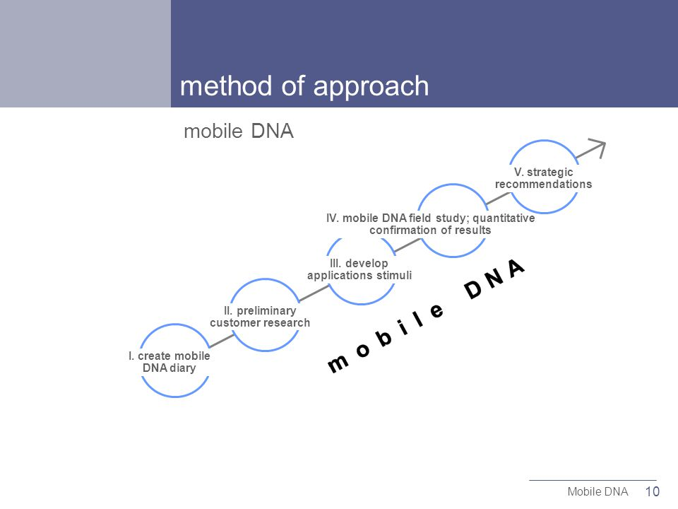 10 Mobile DNA I. create mobile DNA diary II. preliminary customer research III.