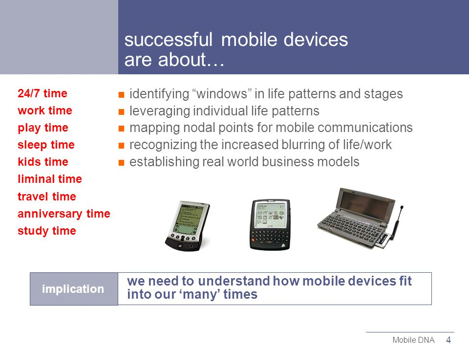 4 Mobile DNA implication we need to understand how mobile devices fit into our many times 24/7 time work time play time sleep time kids time liminal time travel time anniversary time study time successful mobile devices are about… identifying windows in life patterns and stages leveraging individual life patterns mapping nodal points for mobile communications recognizing the increased blurring of life/work establishing real world business models