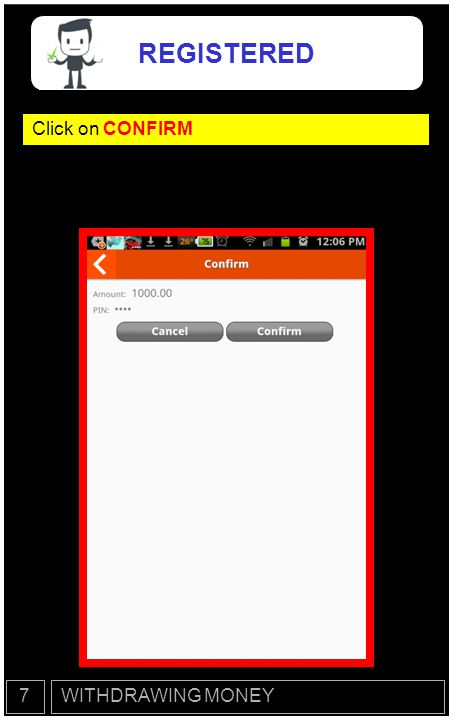 Next you will receive a message with your 12- Digit FUND ACCESS CODE WITHDRAWING MONEY7 REGISTERED