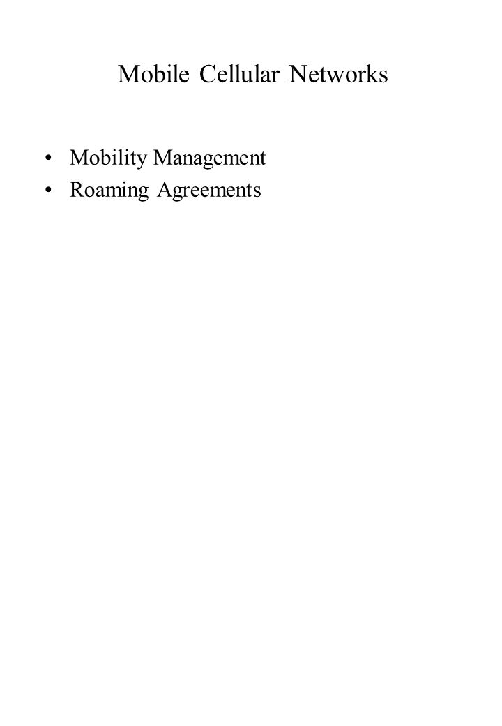 Mobility Management Roaming Agreements