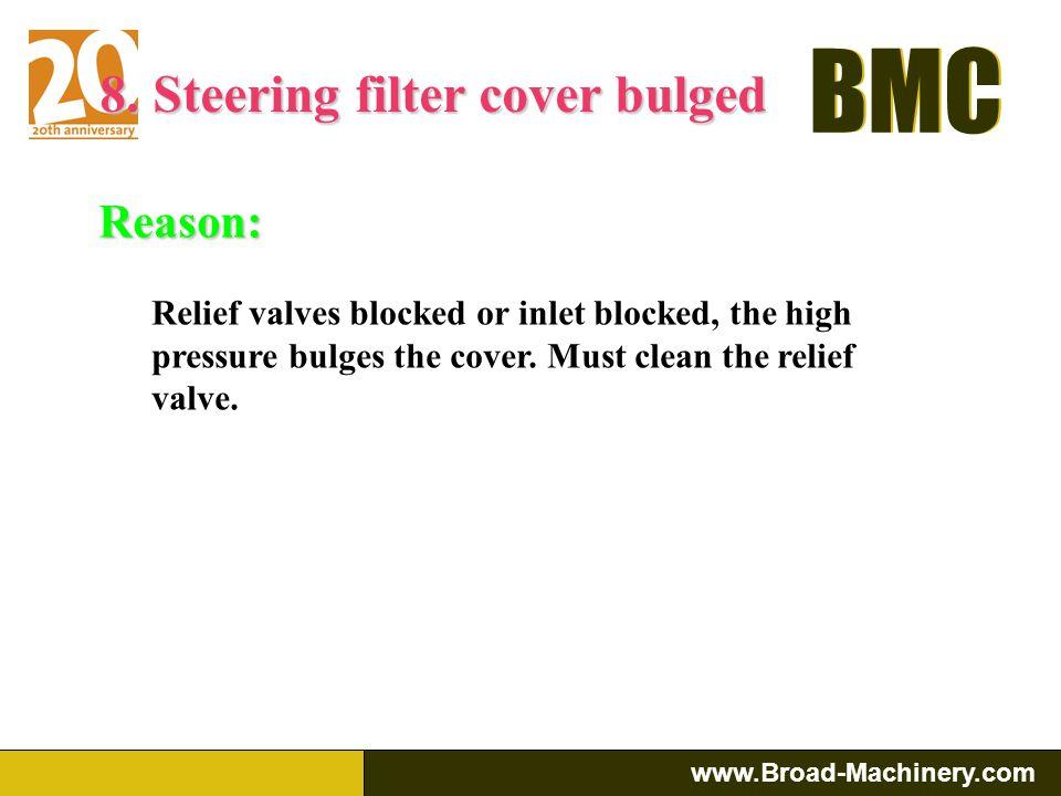 BMC www.Broad-Machinery.com BMC Reason: a.Torque converter problem: 1. return oil pump filter is blocked 2. the seal leaking b.Hydraulic system proble