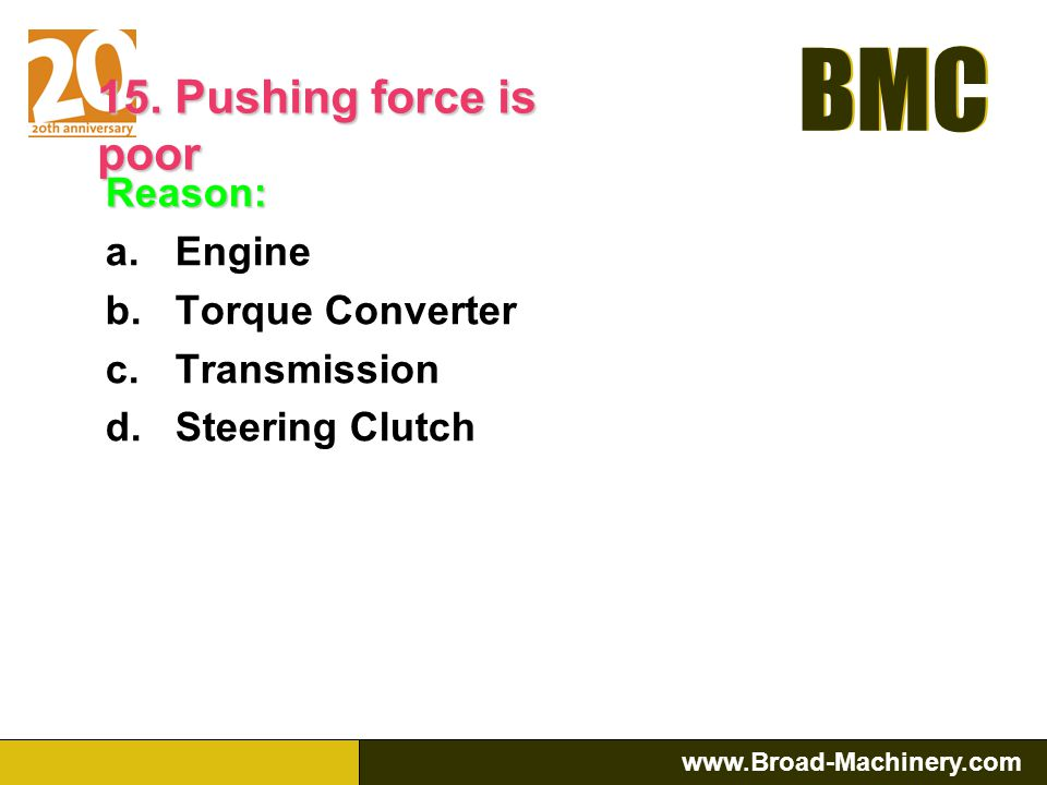 BMC www.Broad-Machinery.com BMC Reason: a.Brake band is worn out, need adjustment or replacement b.Brake linkage are adjusted incorrectly c.Brake boos