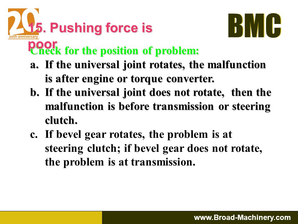 BMC www.Broad-Machinery.com BMC 15. Pushing force is poor Reason: a.Engine b.Torque Converter c.Transmission d.Steering Clutch