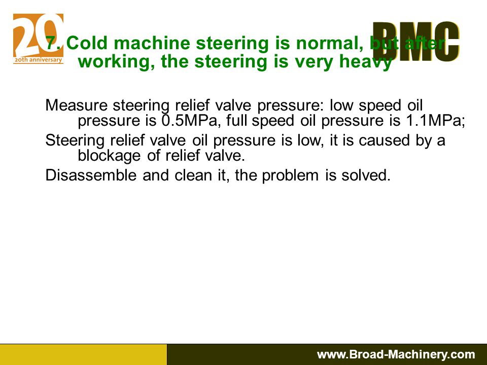 BMC www.Broad-Machinery.com BMC 6. No steering at low speed, but at increased engine rpm, the steering is ok. Measure steering relief valve pressure:
