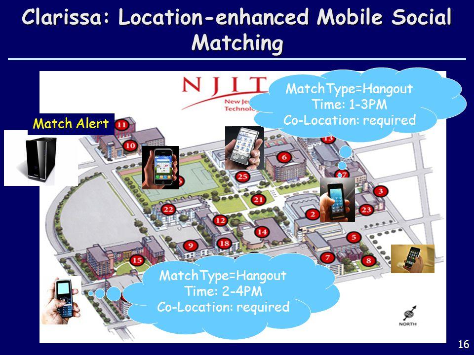16 Clarissa: Location-enhanced Mobile Social Matching Match Alert MatchType=Hangout Time: 1-3PM Co-Location: required MatchType=Hangout Time: 2-4PM Co