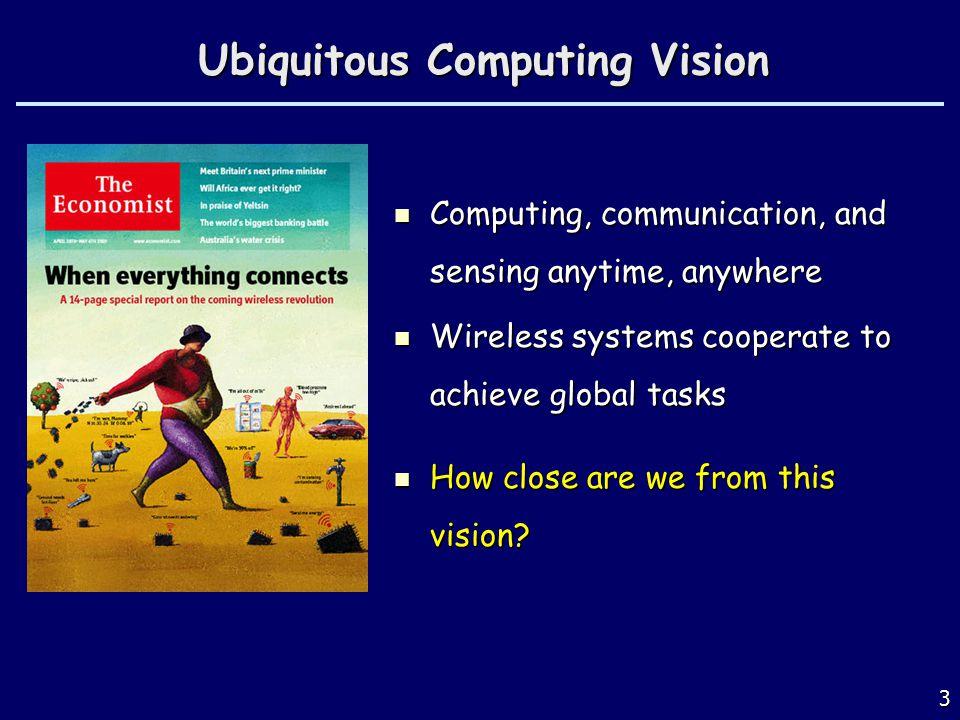 Ubiquitous Computing Vision Computing, communication, and sensing anytime, anywhere Computing, communication, and sensing anytime, anywhere Wireless s