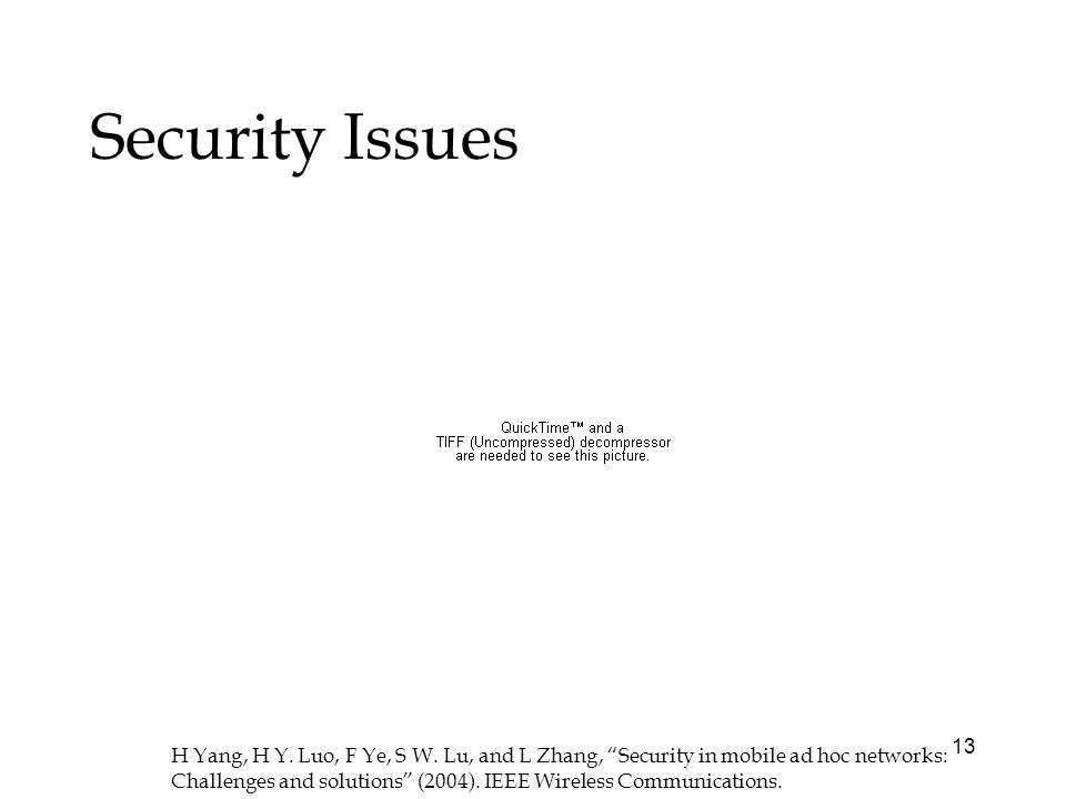 13 Security Issues H Yang, H Y. Luo, F Ye, S W.