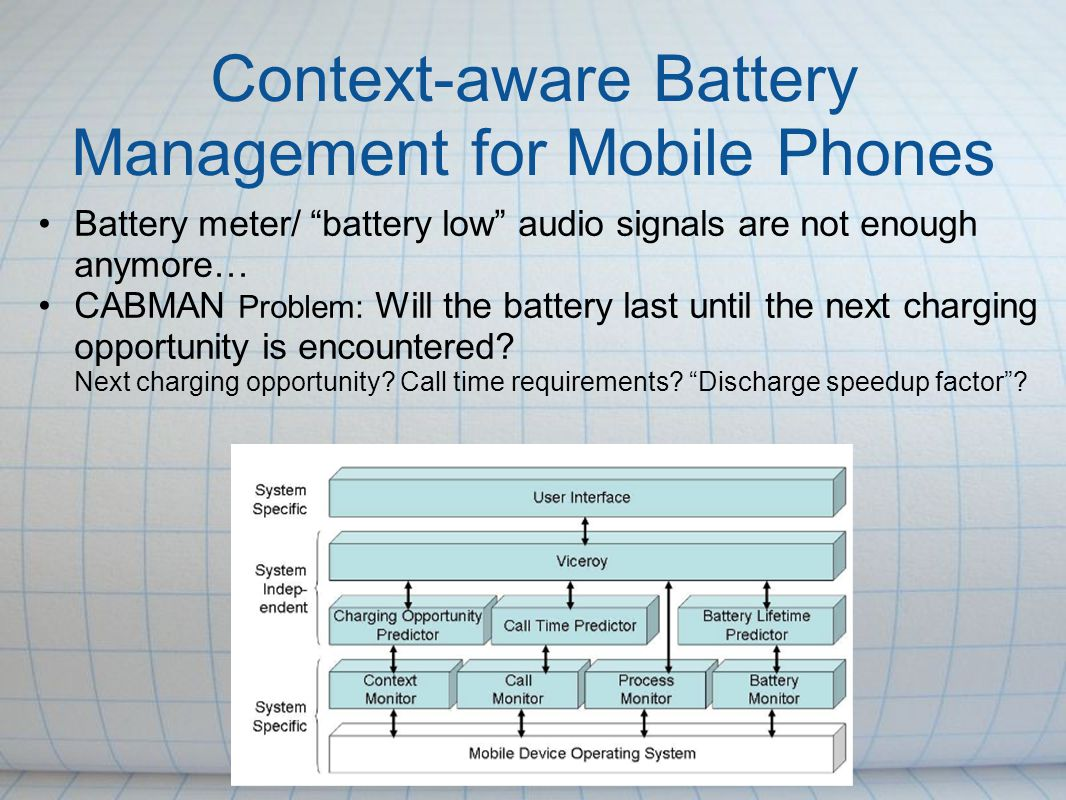 Context-aware Battery Management for Mobile Phones Battery meter/ battery low audio signals are not enough anymore… CABMAN Problem: Will the battery l
