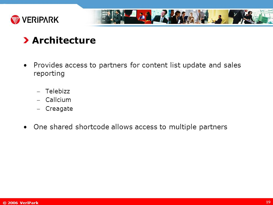 © 2006 VeriPark 19 Architecture Provides access to partners for content list update and sales reporting – Telebizz – Callcium – Creagate One shared shortcode allows access to multiple partners