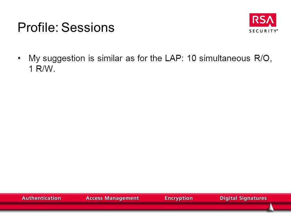 Profile: Sessions My suggestion is similar as for the LAP: 10 simultaneous R/O, 1 R/W.