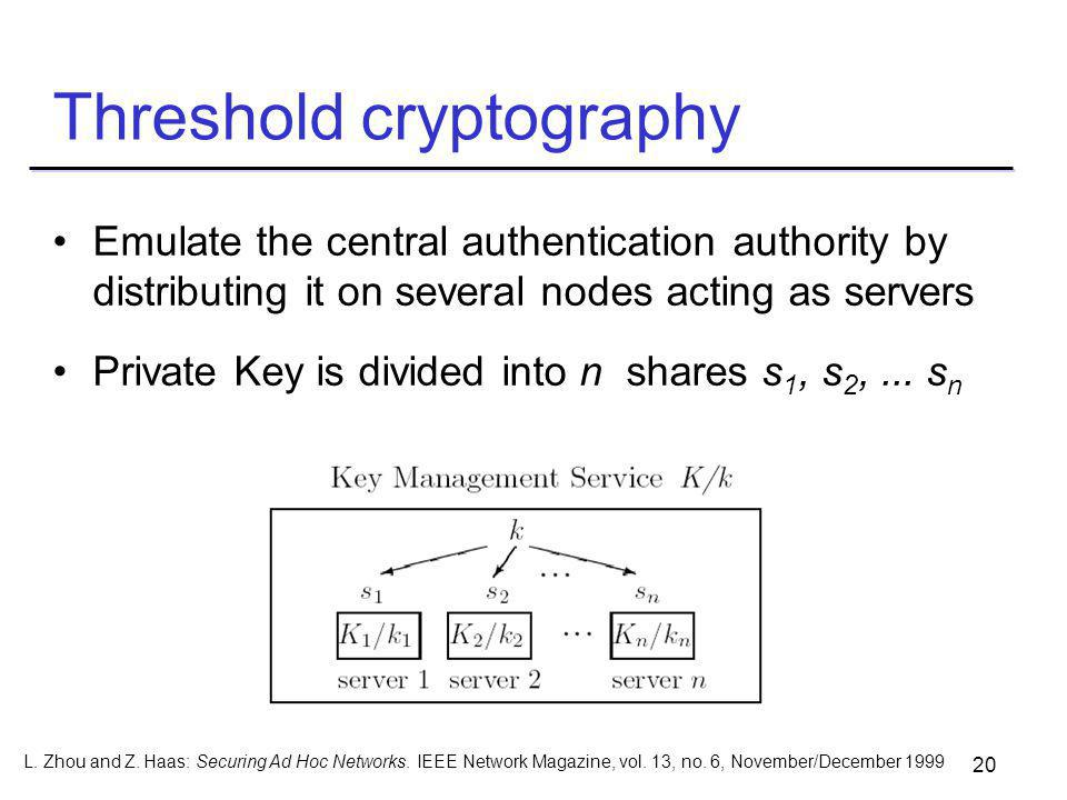 20 Threshold cryptography Emulate the central authentication authority by distributing it on several nodes acting as servers Private Key is divided into n shares s 1, s 2,...