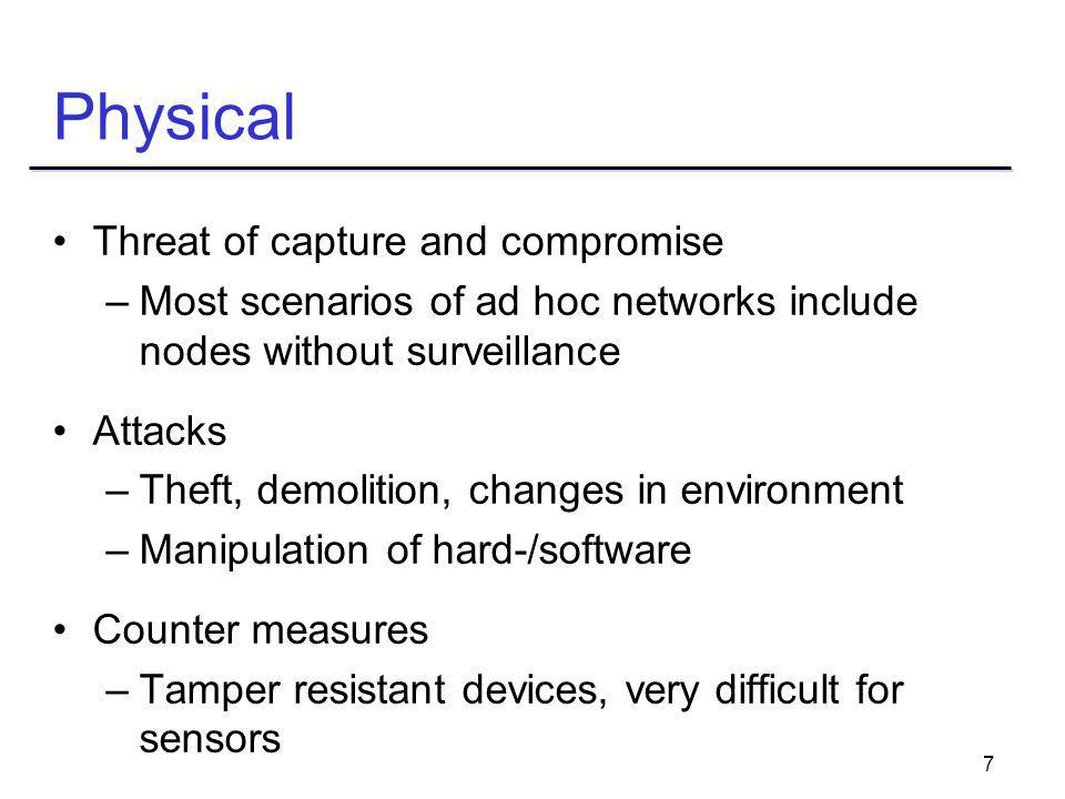 8 Over the Air Threats due to wireless communication Attacks –Eavesdropping, jamming, spoofing, message attacks –Sleep deprivation torture Counter measures –First attacks are not specific to ad hoc networks, well researched in military context: frequency hopping, spread spectrum
