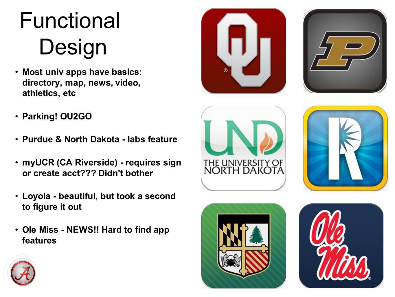 Functional Design Most univ apps have basics: directory, map, news, video, athletics, etc Parking! OU2GO Purdue & North Dakota - labs feature myUCR (C