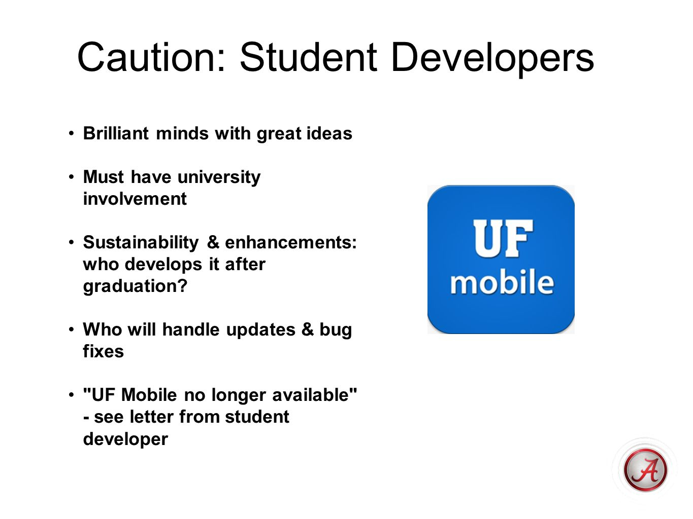 Mobile Web Most universities have mobile version of website, at least top tier sites Most libraries have gone to mobile web Giving cannot be done in native app, at least not iOS Many university native apps have mobile web features TransLoc - buses