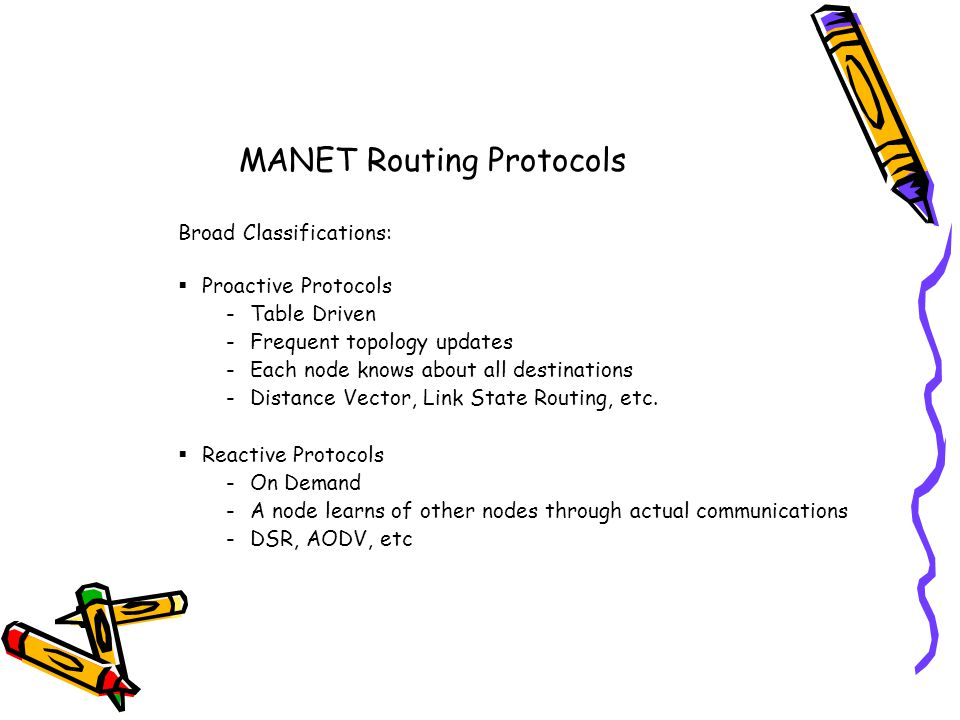 MANET Routing Protocols Broad Classifications: Proactive Protocols -Table Driven -Frequent topology updates -Each node knows about all destinations -Distance Vector, Link State Routing, etc.