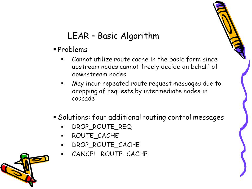 LEAR – Basic Algorithm Problems Cannot utilize route cache in the basic form since upstream nodes cannot freely decide on behalf of downstream nodes May incur repeated route request messages due to dropping of requests by intermediate nodes in cascade Solutions: four additional routing control messages DROP_ROUTE_REQ ROUTE_CACHE DROP_ROUTE_CACHE CANCEL_ROUTE_CACHE