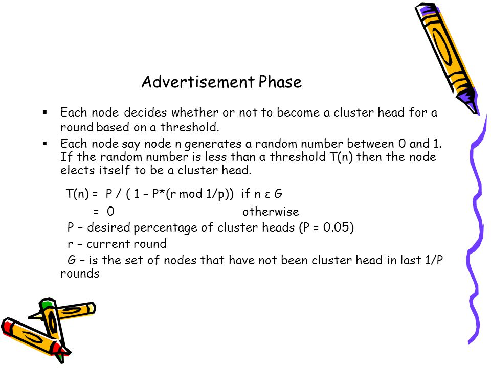 Advertisement Phase Each node decides whether or not to become a cluster head for a round based on a threshold.