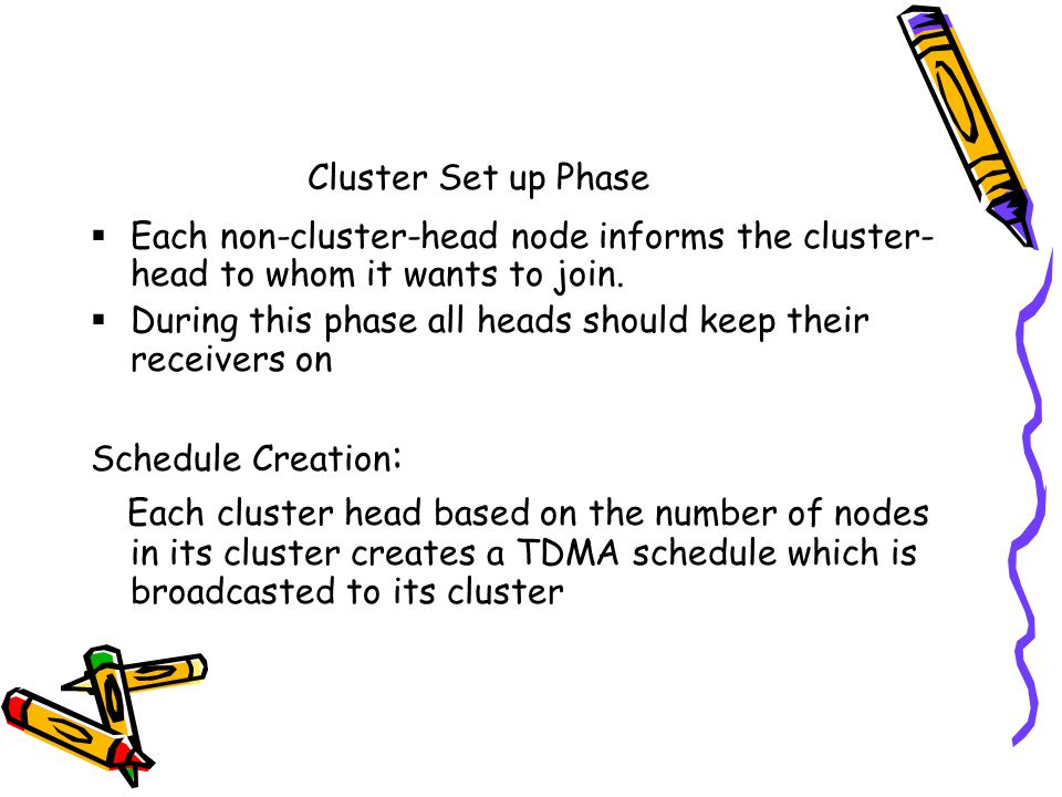 Cluster Set up Phase Each non-cluster-head node informs the cluster- head to whom it wants to join.