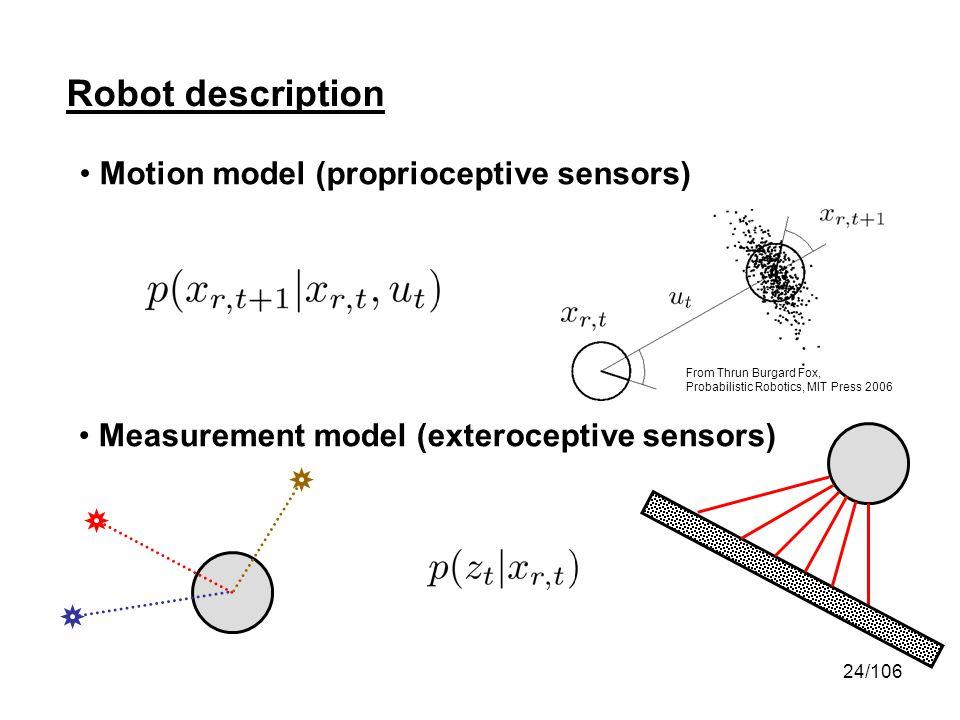 24/106 Robot description Motion model (proprioceptive sensors) Measurement model (exteroceptive sensors) From Thrun Burgard Fox, Probabilistic Robotic