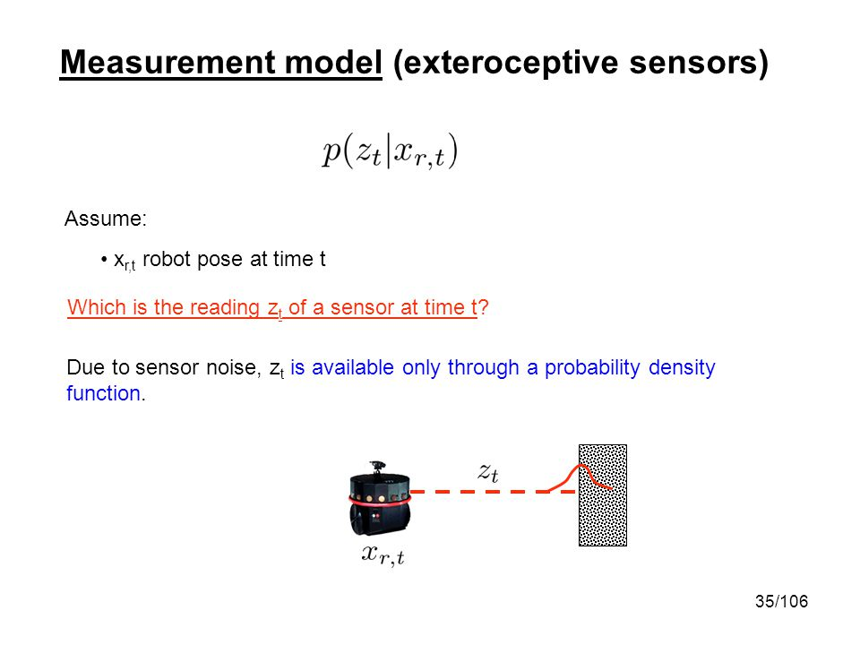 35/106 Measurement model (exteroceptive sensors) Assume: x r,t robot pose at time t Which is the reading z t of a sensor at time t? Due to sensor nois