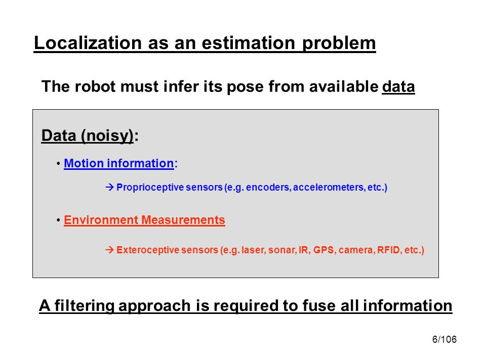 7/106 Localization as an estimation problem Notation Robot pose x y Robot poses from time 0 to time t Robot exteroceptive measurements from time 1 to time t Motion commands (or proprioceptive measurements) from time 0 to time t