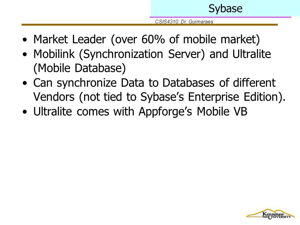 CSIS4310, Dr. Guimaraes Sybase Market Leader (over 60% of mobile market) Mobilink (Synchronization Server) and Ultralite (Mobile Database) Can synchro
