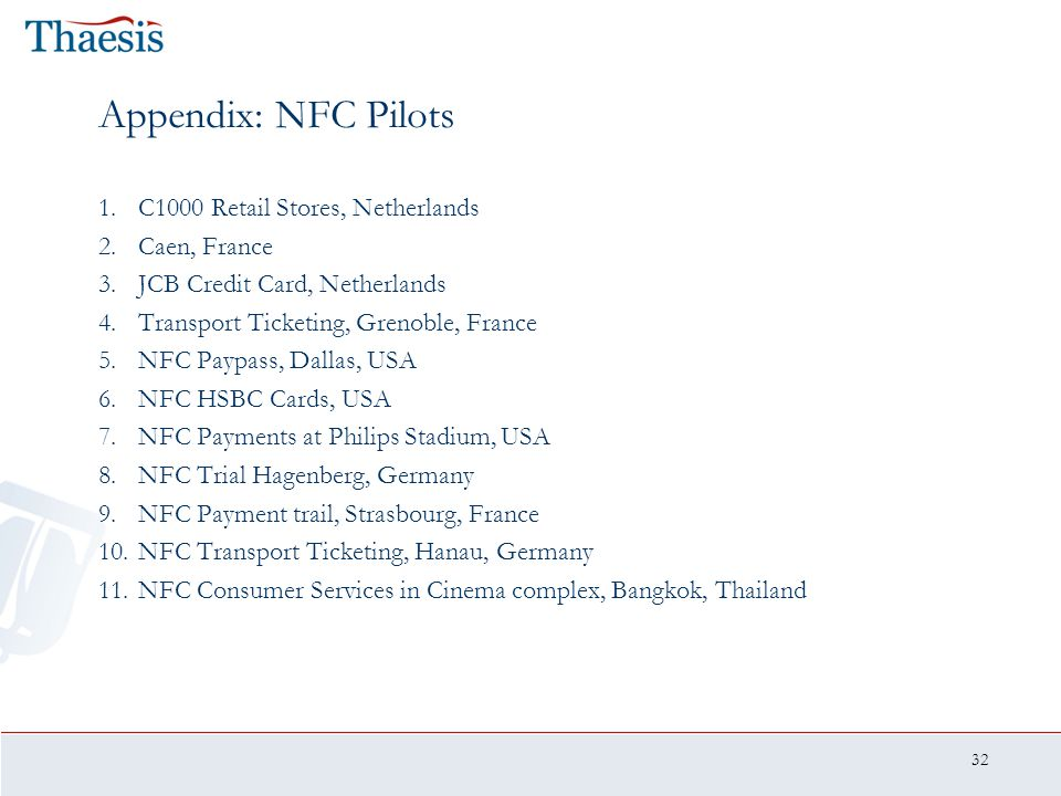 32 Appendix: NFC Pilots 1.C1000 Retail Stores, Netherlands 2.Caen, France 3.JCB Credit Card, Netherlands 4.Transport Ticketing, Grenoble, France 5.NFC