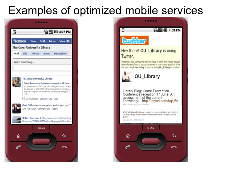 Examples of optimized mobile services
