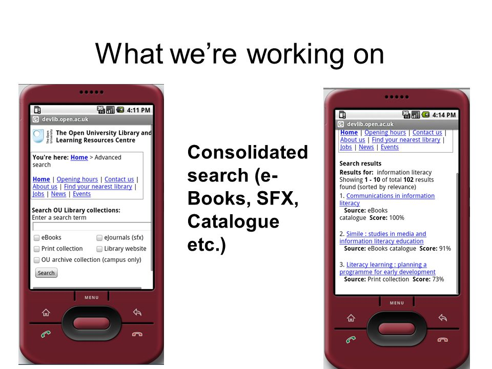 What were working on Consolidated search (e- Books, SFX, Catalogue etc.)
