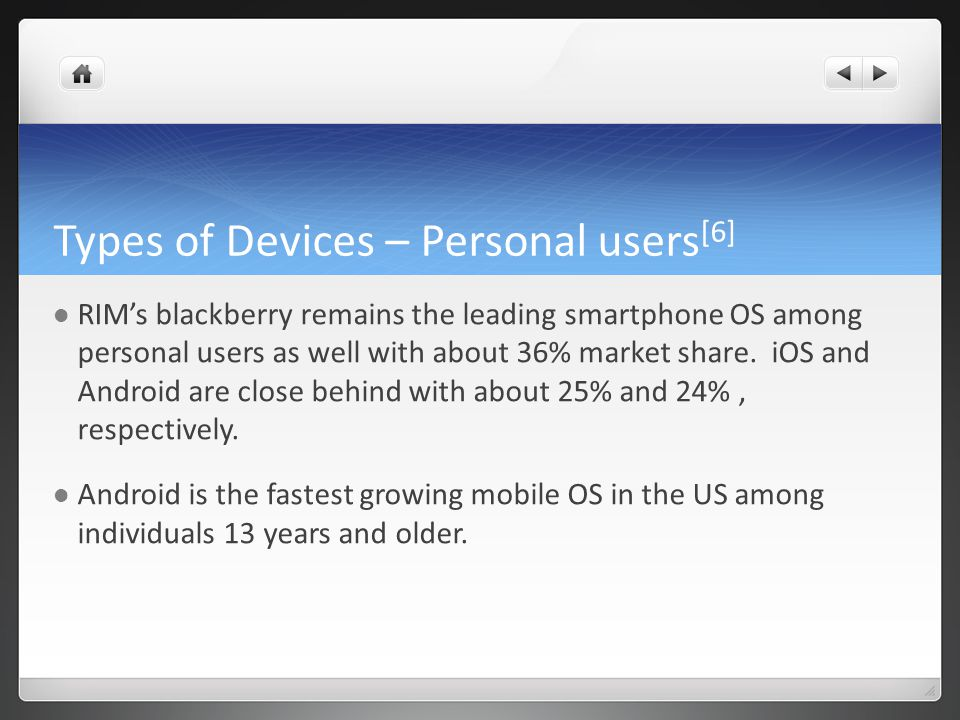 Types of Devices – Personal users [6] RIMs blackberry remains the leading smartphone OS among personal users as well with about 36% market share.