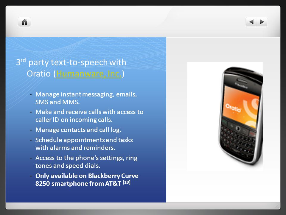 3 rd party text-to-speech with Oratio (Humanware, Inc.)Humanware, Inc.
