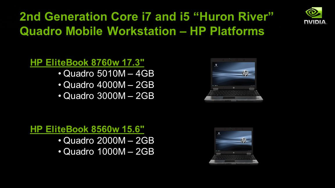NVIDIA Confidential 2nd Generation Core i7 and i5 Huron River Quadro Mobile Workstation – HP Platforms HP EliteBook 8760w 17.3 Quadro 5010M – 4GBQuadro 5010M – 4GB Quadro 4000M – 2GBQuadro 4000M – 2GB Quadro 3000M – 2GBQuadro 3000M – 2GB HP EliteBook 8560w 15.6 Quadro 2000M – 2GBQuadro 2000M – 2GB Quadro 1000M – 2GBQuadro 1000M – 2GB