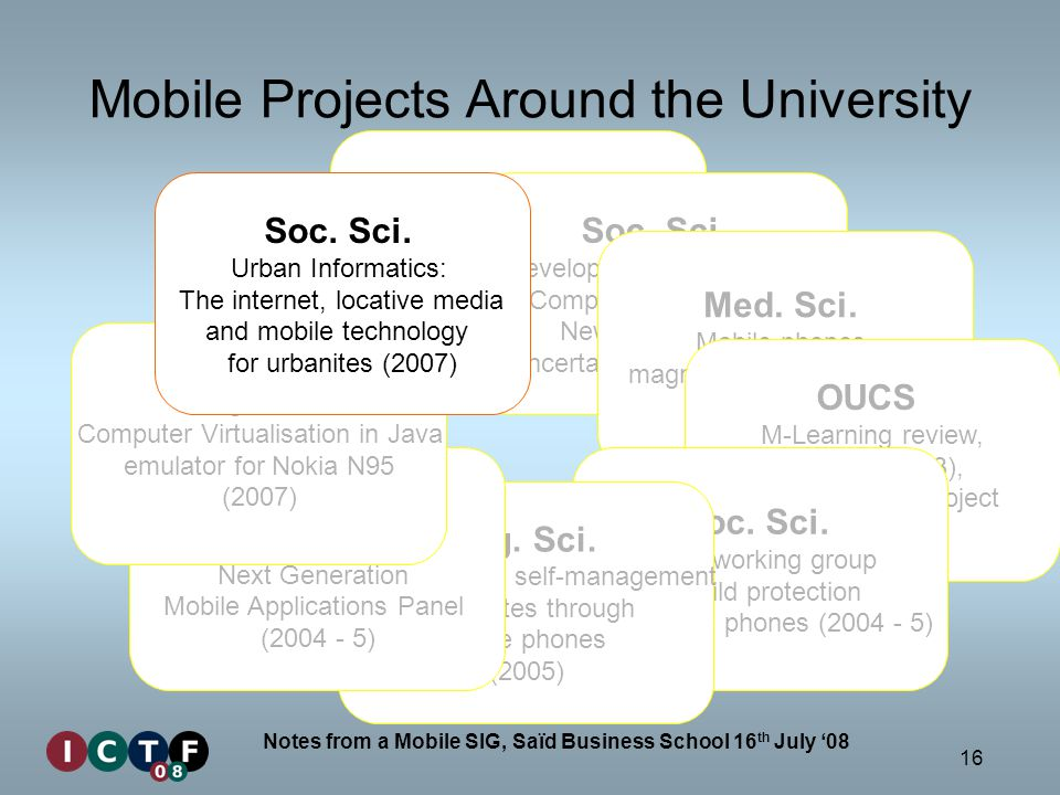 16 Notes from a Mobile SIG, Saïd Business School 16 th July 08 Mobile Projects Around the University Comlab Theory of Mobile Processes (1990s), Ubiquitous Computing (2007 – ) Soc.