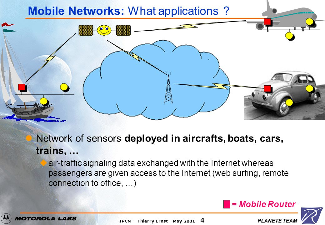 PLANETE TEAM IPCN - Thierry Ernst - May 2001 - 3 Foreword Most IP devices will be mobile ualways connected to the Internet by some means Networks will themselves be mobile umobile networks may be of any size, ranging: from a few IP devices (e.g.