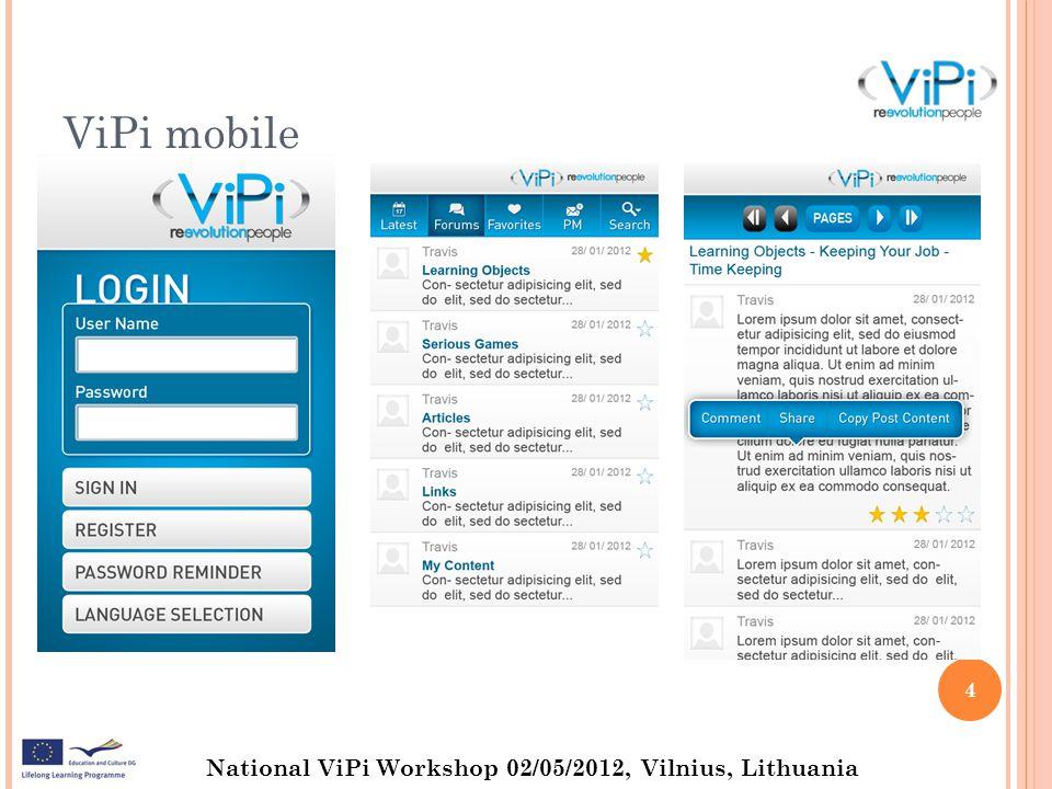 National ViPi Workshop 02/05/2012, Vilnius, Lithuania ViPi mobile 5
