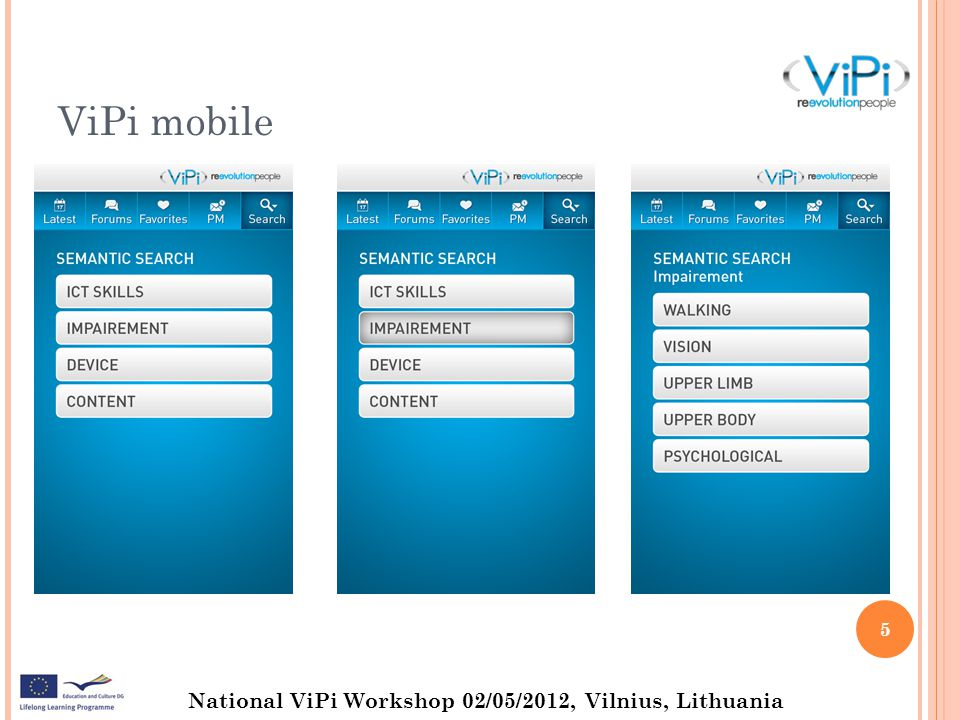 National ViPi Workshop 02/05/2012, Vilnius, Lithuania ViPi mobile 5