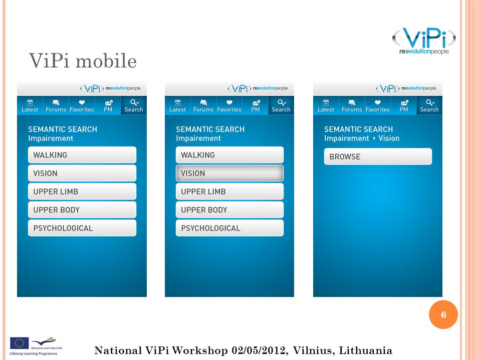 National ViPi Workshop 02/05/2012, Vilnius, Lithuania MOBILE APPS for LEARNING Covering new devices (upgrated client from Android 2.3.x - Gingerbread to Android 4.0.4 - Ice Cream Sandwich) Better Accessibility experience (built-in gestures API, more languages for text-to-speech Greek still excluded, better talk-back) Introducing a powerful new voice input engine that offers a continuous open microphone experience and streaming voice recognition 7