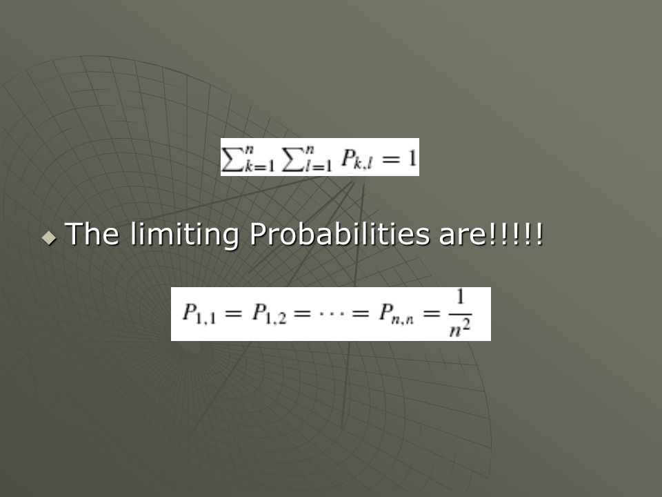 The limiting Probabilities are!!!!! The limiting Probabilities are!!!!!