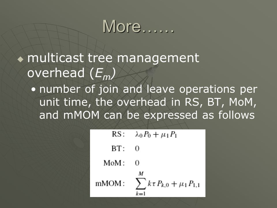 More…… multicast tree management overhead (E m ) number of join and leave operations per unit time, the overhead in RS, BT, MoM, and mMOM can be expressed as follows
