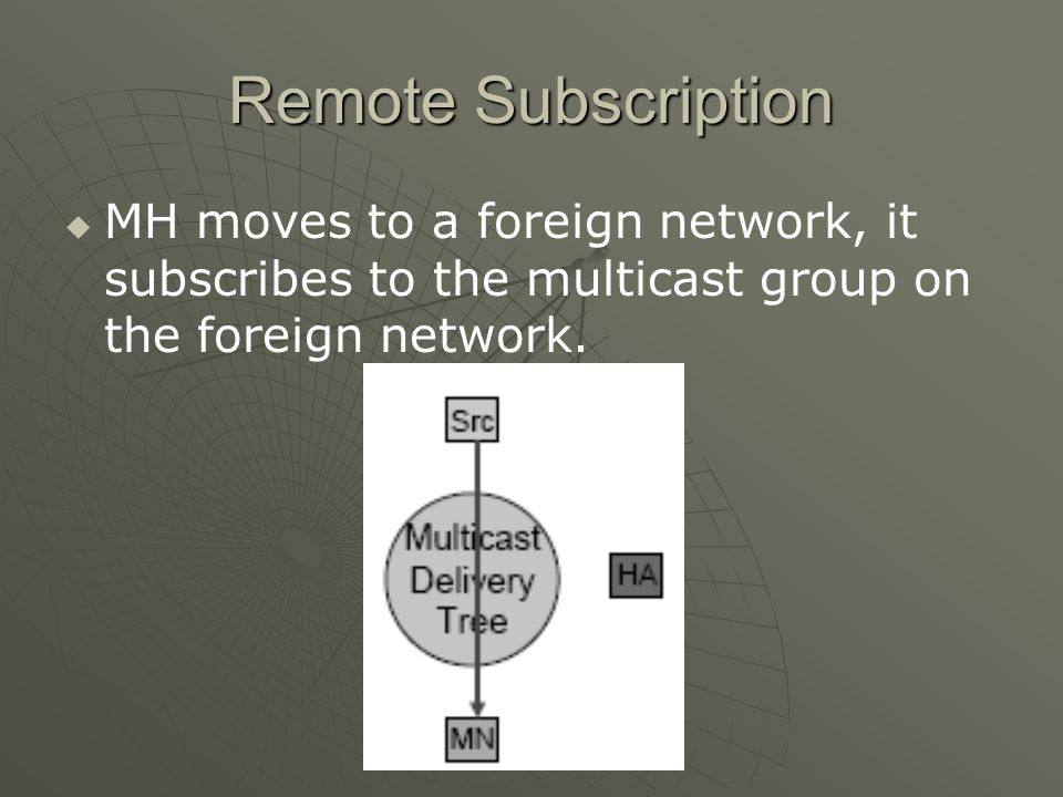Remote Subscription MH moves to a foreign network, it subscribes to the multicast group on the foreign network.