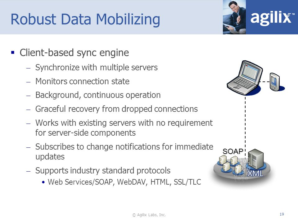 © Agilix Labs, Inc. 19 Robust Data Mobilizing Client-based sync engine Synchronize with multiple servers Monitors connection state Background, continu