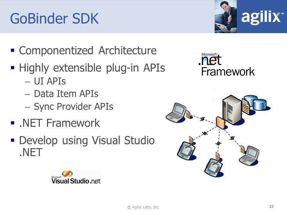 © Agilix Labs, Inc. 23 GoBinder SDK Componentized Architecture Highly extensible plug-in APIs UI APIs Data Item APIs Sync Provider APIs.NET Framework