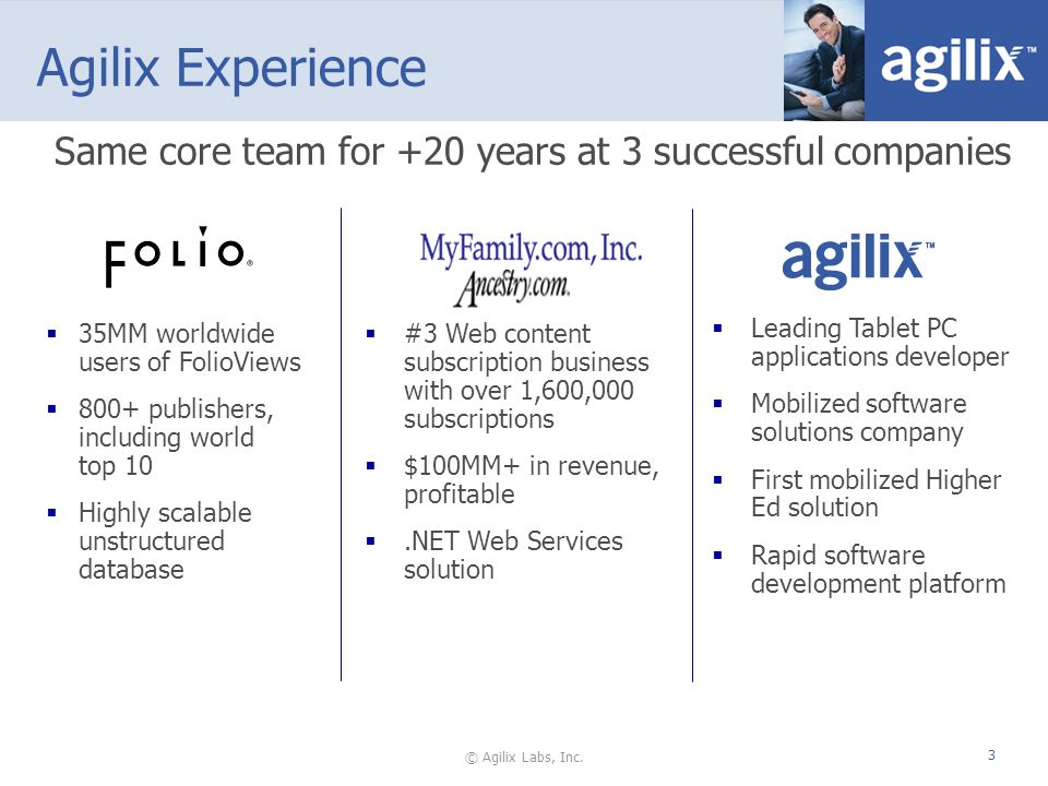 © Agilix Labs, Inc. 3 Agilix Experience 35MM worldwide users of FolioViews 800+ publishers, including world top 10 Highly scalable unstructured databa