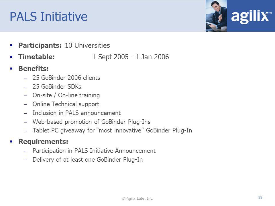 © Agilix Labs, Inc. 33 PALS Initiative Participants:10 Universities Timetable:1 Sept 2005 - 1 Jan 2006 Benefits: 25 GoBinder 2006 clients 25 GoBinder