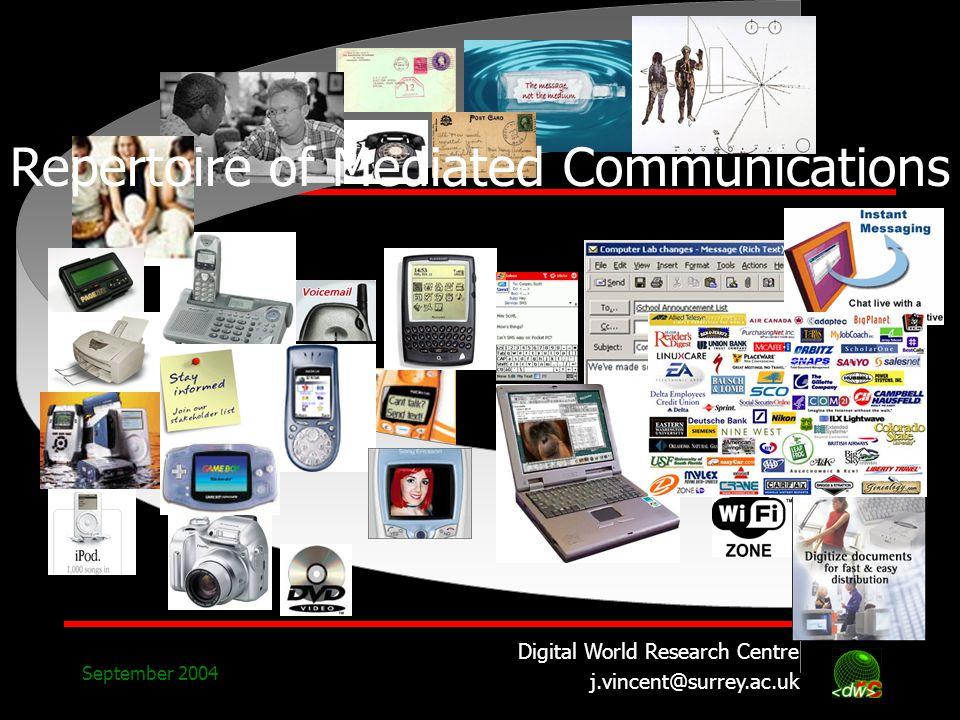 Digital World Research Centre j.vincent@surrey.ac.uk September 2004 Repertoire of Mediated Communications