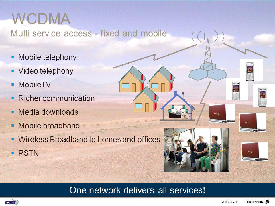 2006-06-18 Mobile telephony Video telephony MobileTV Richer communication Media downloads Mobile broadband Wireless Broadband to homes and offices PST