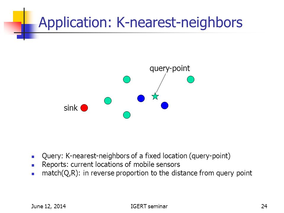 June 12, 2014IGERT seminar24 Application: K-nearest-neighbors Query: K-nearest-neighbors of a fixed location (query-point) Reports: current locations of mobile sensors match(Q,R): in reverse proportion to the distance from query point sink query-point
