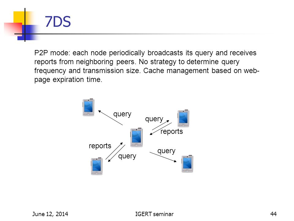 June 12, 2014IGERT seminar44 query reports 7DS P2P mode: each node periodically broadcasts its query and receives reports from neighboring peers.