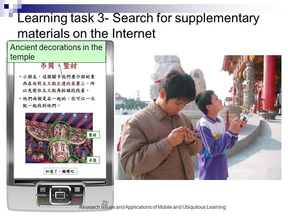 Learning task 3- Search for supplementary materials on the Internet Research Issues and Applications of Mobile and Ubiquitous Learning Ancient decorations in the temple